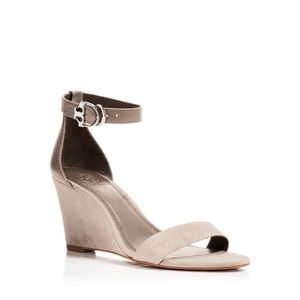 Tory Burch Grant Suede Ankle Strap Wedge Sandals
